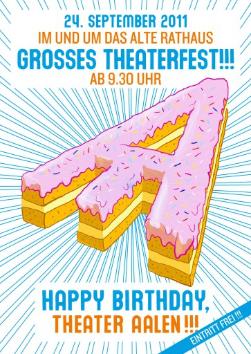 Kleon Medugorac HAPPY BIRTHDAY THEATER AALEN!!! flyer illustration poster theater typography allgemein