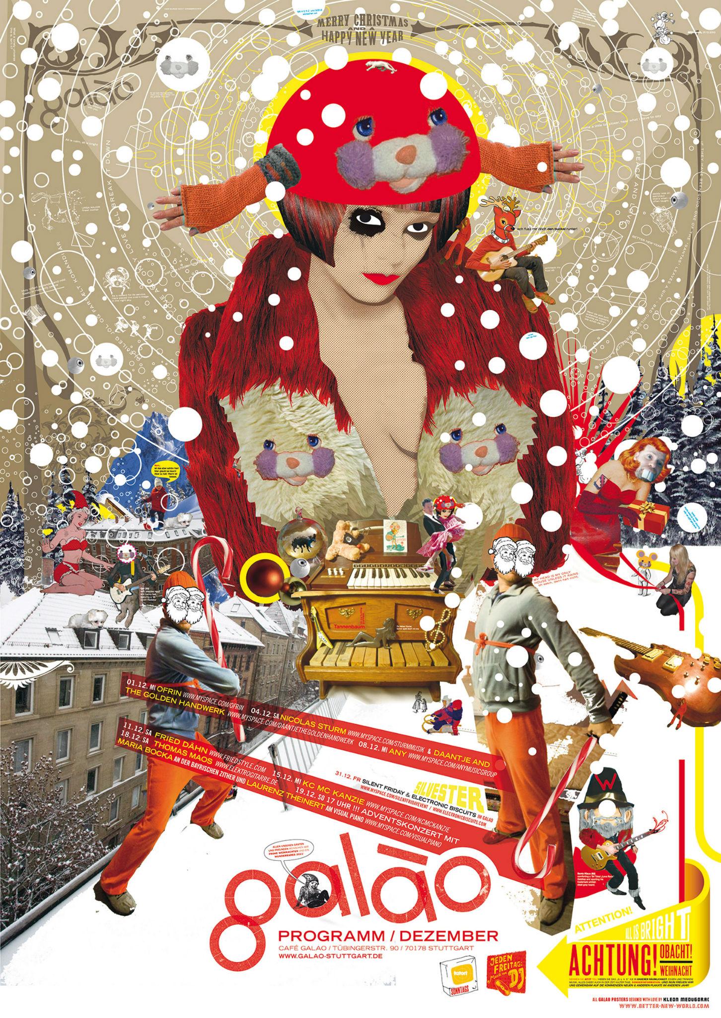 Kleon Medugorac Café Galao Christmas Poster